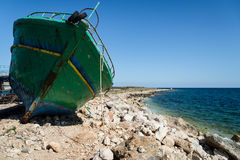 Arabs abandoned fishing boats. View of some fishing boats abandoned royalty free stock images
