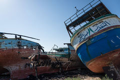 Arabs abandoned fishing boats. View of some fishing boats abandoned stock photos