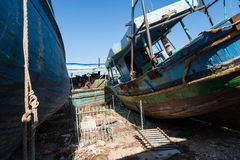 Arabs abandoned fishing boats. View of some fishing boats abandoned royalty free stock photos