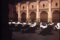 Arabs praying in mosque stock footage
