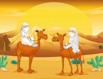 Arabs riding on camels at desert. Illustration Stock Photo