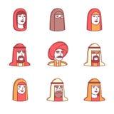 Arabscy i muzułmańscy ludzie twarzy ikon cienieją linia set Obrazy Royalty Free