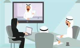 Arabscy ludzie biznesu sieci konferencyjnego spotkania w biurze ilustracji