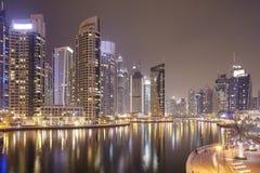 arabska Dubai emiratów marina noc jednocząca Obrazy Stock