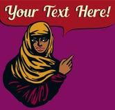 Arabska dziewczyna jest ubranym hijab przesłonę z wskazywać palec i mowa gulgoczemy Fotografia Royalty Free