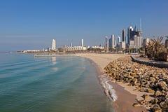 Arabska zatoki plaża i linia horyzontu Kuwejt Zdjęcie Royalty Free