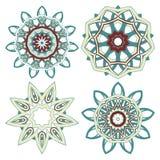 Arabski Kolorowy mandala ustawiający Etniczni plemienni ornamenty obrazy royalty free