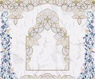Arabski Kwiecisty łuk Tradycyjny islamski ornament na bielu marmuru tle Meczetowy dekoracja projekta element royalty ilustracja