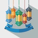 Arabski lampion i faborek Fotografia Royalty Free