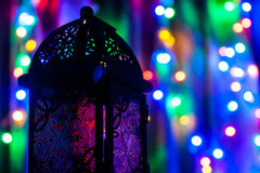 Arabski lampion na kolorowym lekkim tle Obraz Royalty Free