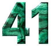 Arabski liczebnik 41, czterdzieści jeden, od naturalnego zielonego malachitu, odizolowywającego na białym tle obrazy royalty free