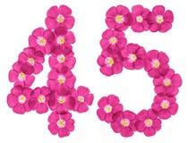 Arabski liczebnik 45, czterdzieści pięć, od różowych kwiatów len, odizolowywających na białym tle fotografia royalty free