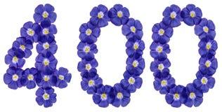 Arabski liczebnik 400, czterysta, od błękitnych kwiatów len, iso Zdjęcie Stock