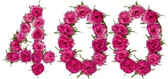 Arabski liczebnik 400, czterysta, od czerwonych kwiatów wzrastał, isol Zdjęcie Stock