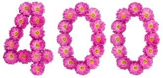 Arabski liczebnik 400, czterysta, od kwiatów chryzantema, Obrazy Royalty Free