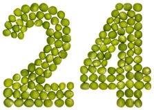 Arabski liczebnik 24, dwadzieścia cztery, od zielonych grochów, odizolowywających na whi Fotografia Stock