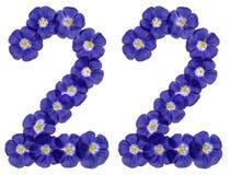 Arabski liczebnik 22, dwadzieścia dwa, od błękitnych kwiatów len, isolat Obrazy Royalty Free