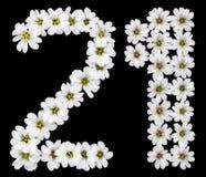 Arabski liczebnik 21, dwadzieścia jeden, dwadzieścia, dwa, jeden, od bielu przepływu Zdjęcia Stock