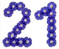 Arabski liczebnik 21, dwadzieścia jeden, dwadzieścia, od błękitnych kwiatów len Zdjęcia Stock