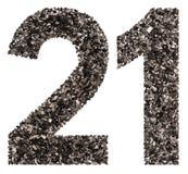 Arabski liczebnik 21, dwadzieścia jeden, od czerni naturalny węgiel drzewny, jest Obrazy Stock