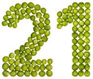 Arabski liczebnik 21, dwadzieścia jeden, od zielonych grochów, odizolowywających na whit Zdjęcia Royalty Free