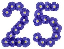 Arabski liczebnik 25, dwadzieścia pięć, od błękitnych kwiatów len, isola Zdjęcia Stock
