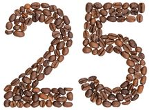 Arabski liczebnik 25, dwadzieścia pięć, od kawowych fasoli, odizolowywać na w Obrazy Stock