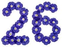 Arabski liczebnik 26, dwadzieścia sześć, od błękitnych kwiatów len, isolat Zdjęcia Royalty Free