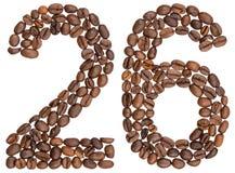 Arabski liczebnik 26, dwadzieścia sześć, od kawowych fasoli, odizolowywać na wh Zdjęcie Royalty Free