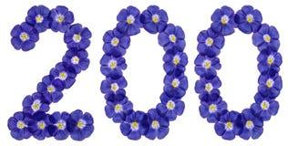 Arabski liczebnik 200, dwieście, od błękitnych kwiatów len, isol Obrazy Stock