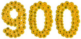 Arabski liczebnik 900, dziewiećset, od żółtych kwiatów butterc Zdjęcia Royalty Free
