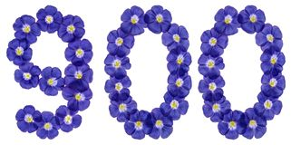 Arabski liczebnik 900, dziewiećset, od błękitnych kwiatów len, iso Zdjęcia Stock