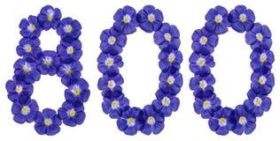 Arabski liczebnik 800, osiemset, od błękitnych kwiatów len, jest Zdjęcie Royalty Free