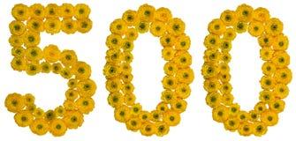 Arabski liczebnik 500, pięćset, od żółtych kwiatów butterc Zdjęcia Stock