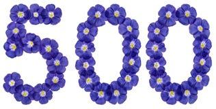 Arabski liczebnik 500, pięćset, od błękitnych kwiatów len, iso Zdjęcie Stock