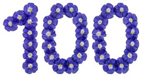 Arabski liczebnik 100, sto, od błękitnych kwiatów len, isol Zdjęcia Stock