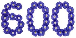 Arabski liczebnik 600, sześćset, od błękitnych kwiatów len, isol Zdjęcie Royalty Free