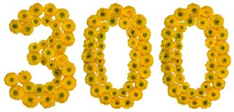 Arabski liczebnik 300, trzysta, od żółtych kwiatów masło Zdjęcie Royalty Free
