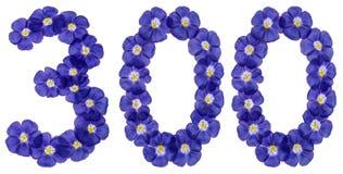 Arabski liczebnik 300, trzysta, od błękitnych kwiatów len, jest Obrazy Royalty Free