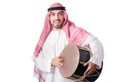 Arabski mężczyzna bawić się bęben odizolowywającego Zdjęcia Royalty Free