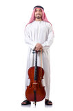 Arabski mężczyzna bawić się wiolonczelę Obrazy Stock