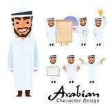 Arabski mężczyzna charakteru projekta set mądrze arabski mężczyzna pojęcie dla pre Fotografia Stock