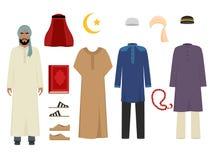Arabski mężczyzna odziewa Krajowa islamska moda męskich kostium garderoby rzeczy muzułmański irańczyk i turecki sułtanu wektor ilustracja wektor