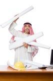 Arabski mężczyzna pracuje w biurze Obraz Royalty Free