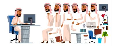 Arabski mężczyzna urzędnika wektor Animacja set generatory Twarzowe emocje, gesty przód, strona, tylny widok Biznesmen Zdjęcie Stock