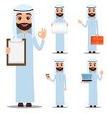 Arabski mężczyzna w biel ubraniach Śliczny postać z kreskówki - set Obrazy Royalty Free
