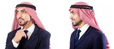 Arabski mężczyzna w kostiumu odizolowywającym na bielu obraz stock