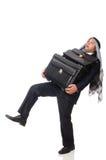 Arabski mężczyzna z bagażem na bielu Obraz Royalty Free