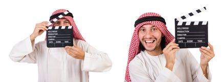 Arabski mężczyzna z filmu clapper na bielu Obraz Stock