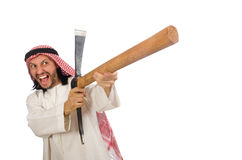 Arabski mężczyzna z lodową cioską odizolowywającą na bielu Obraz Stock